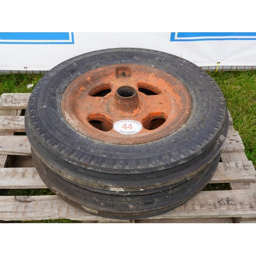44 - Fordson front wheels and tyres 600-19...
