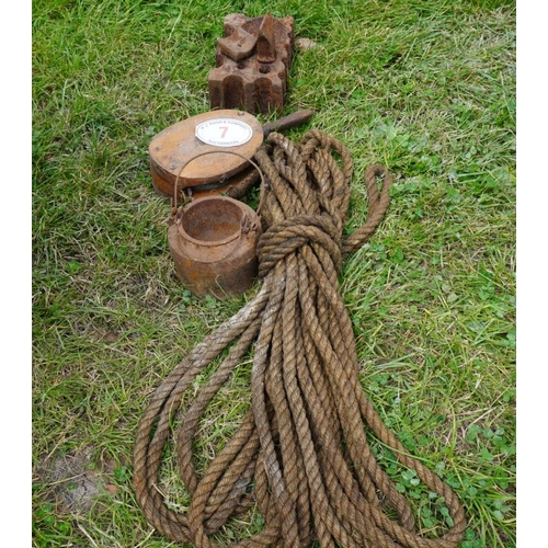 7 - Swage block, lead pot, rope and hoist...