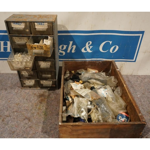44 - Jawa & C2 NOS cables, accessories & shelf unit of motorcycle bulbs...