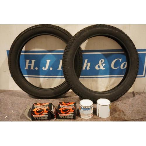 57 - Motorcycle Tyre 350-19, premium heavy duty motorcycle tubes & black paint...