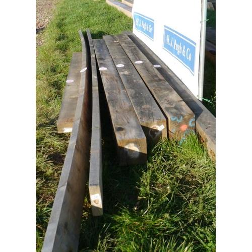 629 - Oak beam, machined 4.6M 150x150 +VAT...