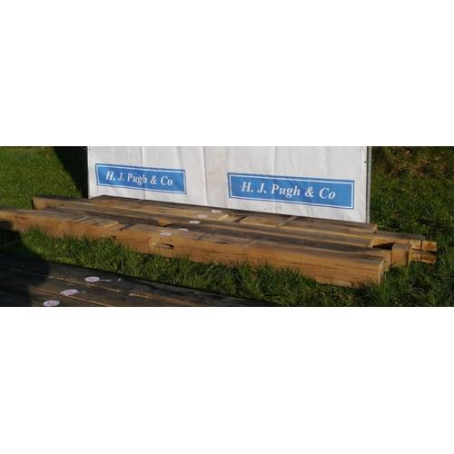 636 - Oak beam, machined 4.4M 190x190 +VAT...
