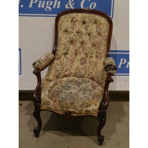 10 - Mahogany upholstered button back arm chair...