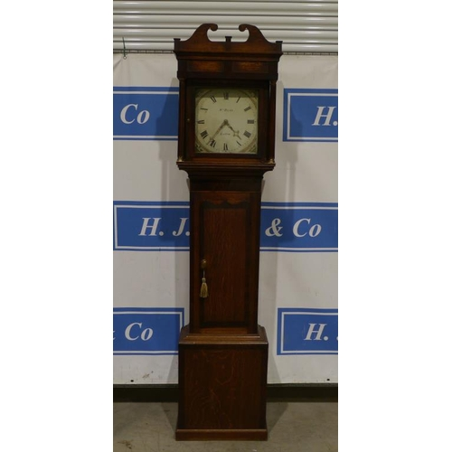 16 - Oak cased grandfather clock by W M Payne of Ludlow...