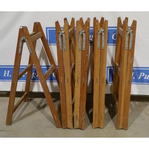 22 - 5 Tall wooden trestles 51