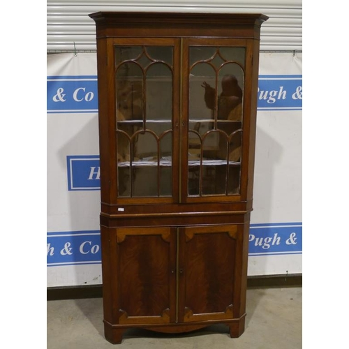 29 - Mahogany glass fronted corner display unit 81x41
