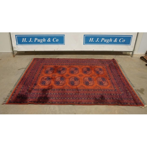 39 - 19th Century Afghan red patterned rug 88x66