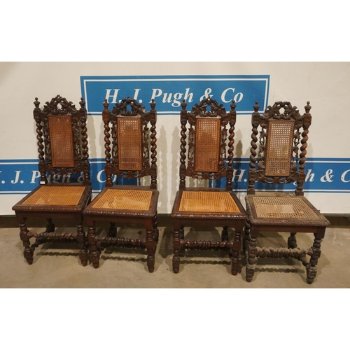44 - 4 Oak high back dining chairs with cane seat and panel...