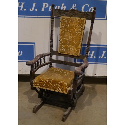 45 - American upholstered rocking chair...