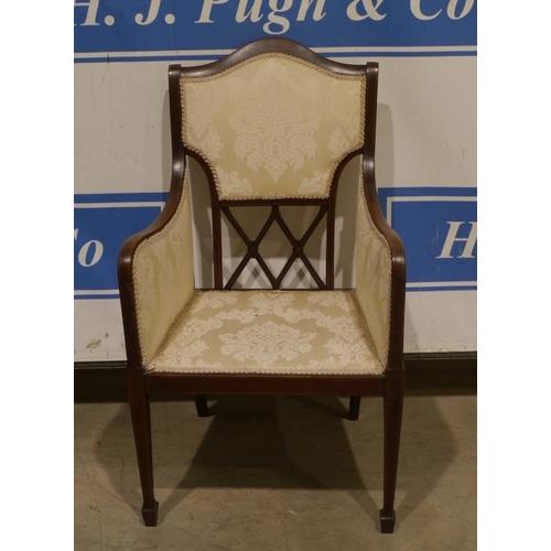 50 - Upholstered bedroom chair on spade legs...
