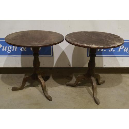 52 - 2 Georgian style round pine tables on pedestal base 28
