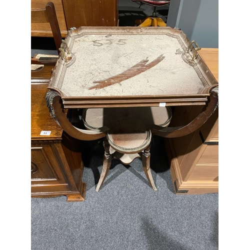 55 - Mahogany French style serving table with glass top tray and oak coal scuttle...