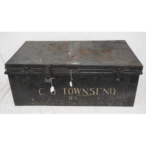 598 - Officers trunk issued to C.O. Townsend R.A 85th killed in action. 1915...
