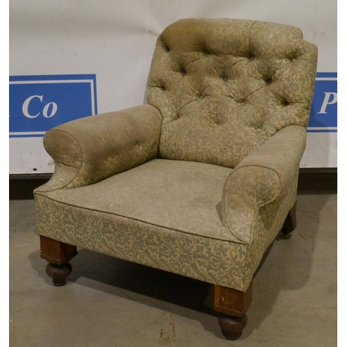 8 - Button back upholstered arm chair...