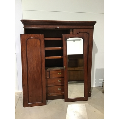 """22A - Mahogany gentleman's linen press with 3 drawers and mirrored doors. 81x75""""..."""