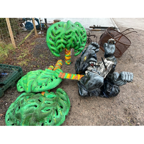 623 - Fibreglass life size gorilla and tree ornaments. 7foot tall....