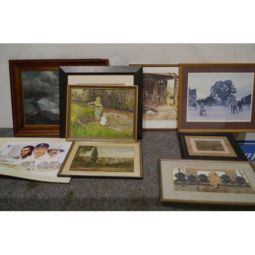 654 - Framed prints & limited edition cricket print by David Stallard