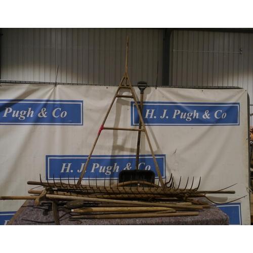 11 - Heel rake, pitchfork, scythe and shepherds crooks etc...