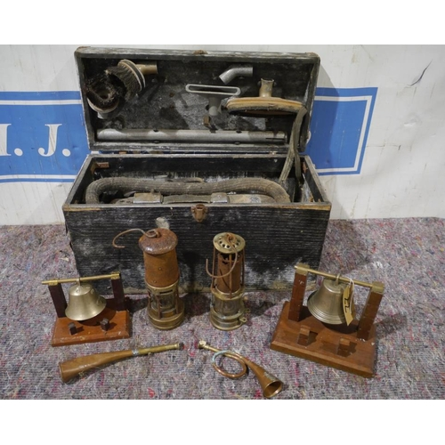 22 - Old electric Vactric vacuum cleaner, 2 miners lamp, bells and horn...