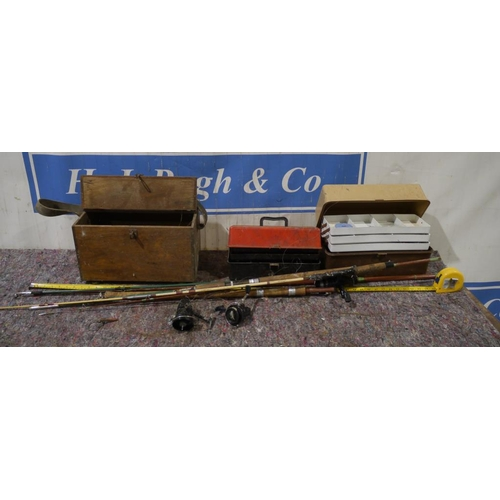 28 - Fishing tackle and ferret box...
