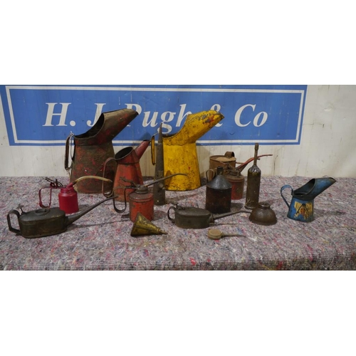 3 - Oil jugs and oil dispensers to include Shell, Vitafilm...