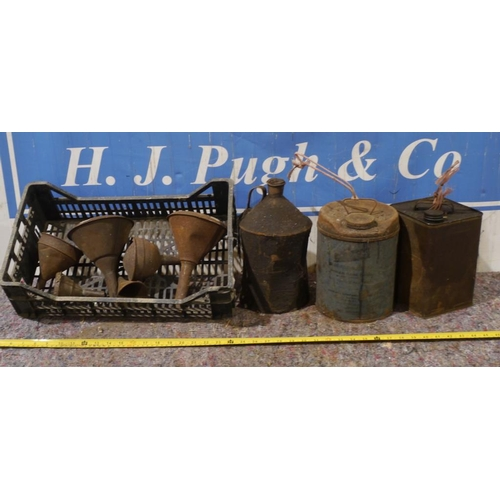 40 - PlusGas tin,two other tins and funnels...