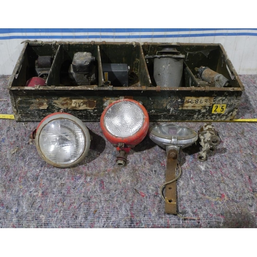 56 - Massey Ferguson tractor plough lights to include Butler and other tractor spares...