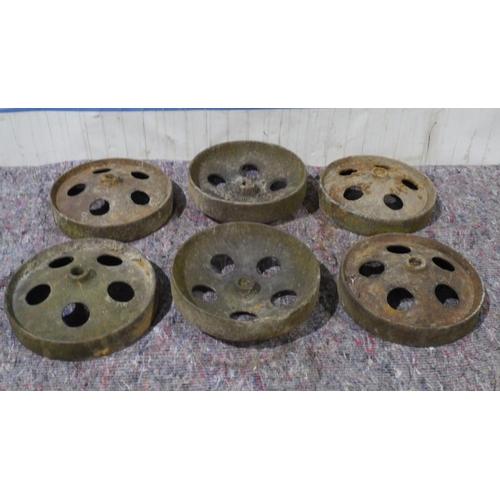 8 - 6 Cast iron wheels...
