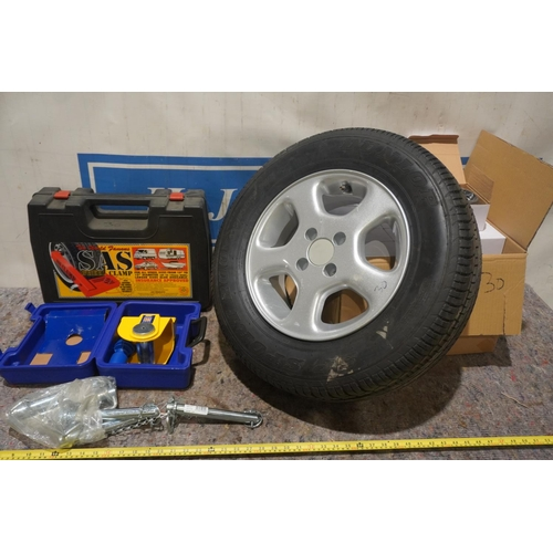 30 - Wheel clamp, stronghold trailer lock, trailer wheel, hitch pins etc +VAT