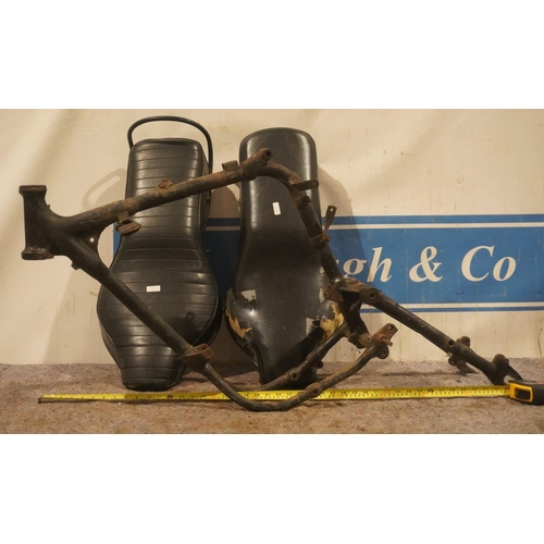 35 - Motorcycle seats and BSA B40 frame
