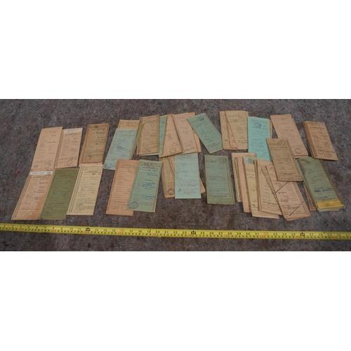 50 - Old buff log books to include Triumph, DKW, NSU, Francis Barnett and Ariel. Approx 60