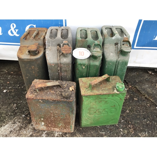 10 - 4 Jerry cans and 2 petrol cans