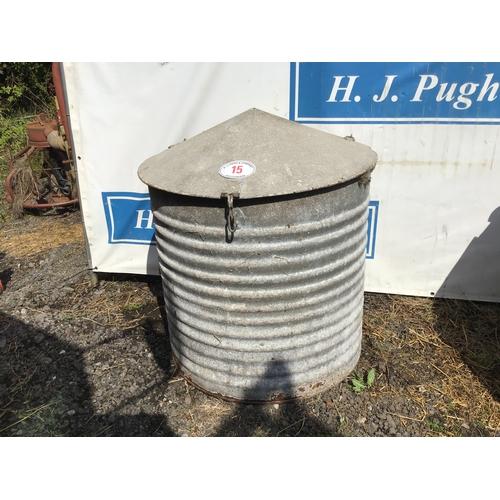 15 - Galvanised round feed bin