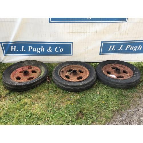 22 - 3 Fordson cast iron wheels & tyres