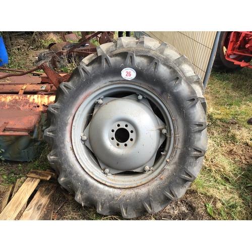 "26 - Pair of Ferguson rear wheels and tyres 28"""