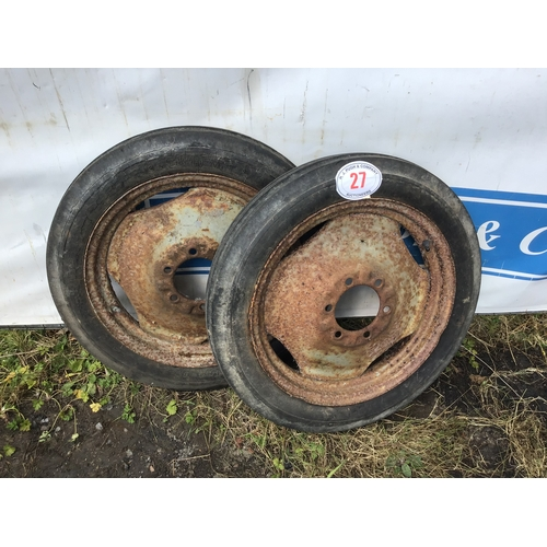 """27 - Pair of Ferguson front wheels and tyres 19"""""""