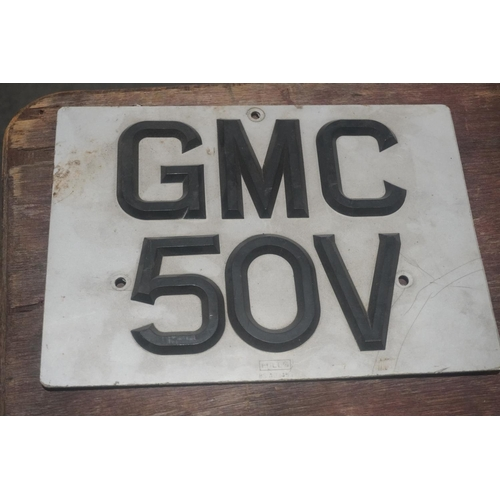 800 - Cherished number plate on retention. GMC 50V