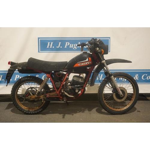 826 - Cagiva XT125 motorcycle. 1984. Matching numbers. New tyres and battery. Reg. A831 YCY. V5, key