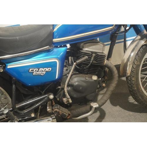 829 - Honda CD200 Benly motorcycle. 1986. Runs, frame no. MA012110885. Reg. C843 BAE. V5, keys