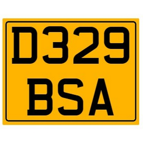 799 - Cherished number plate on retention. Reg. D329 BSA Photograph for illustration purposes only