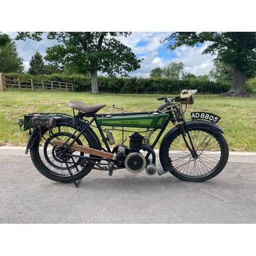 813 - Royal Enfield flat tank motorcycle. 1921. 225CC. C/W spare wheel. Reg. AD8 805.