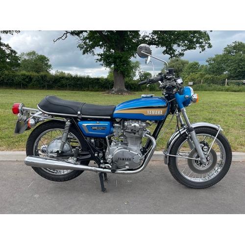 837 - Yamaha TX650 motorcycle. 1973. Runs well. New battery and brakes, NOS brake lever, master cylinder a...