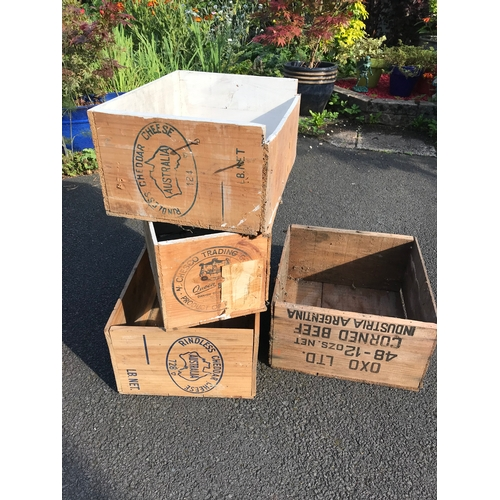 19 - 4 wooden crates. oxo....