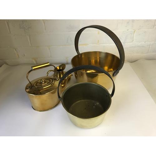 32 - 2 brass jam pans....