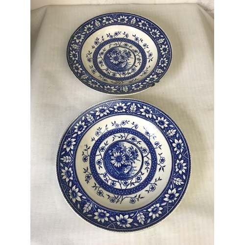 42 - pair blue and white Palmyra soup bowls, with sunflower decoration. 26.5cm...