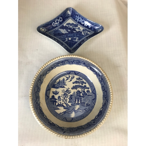 46 - Wedgwood willow pattern serving bowl 10 inches, and a fallow deer pattern dish...
