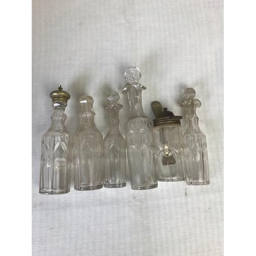 60 - A selection of cut glass bottles, x6. tallest 20cm....