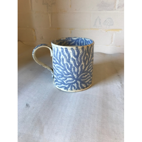 52 - Early blue and white transfer printed cup. with seaweed decoration. 13cm....