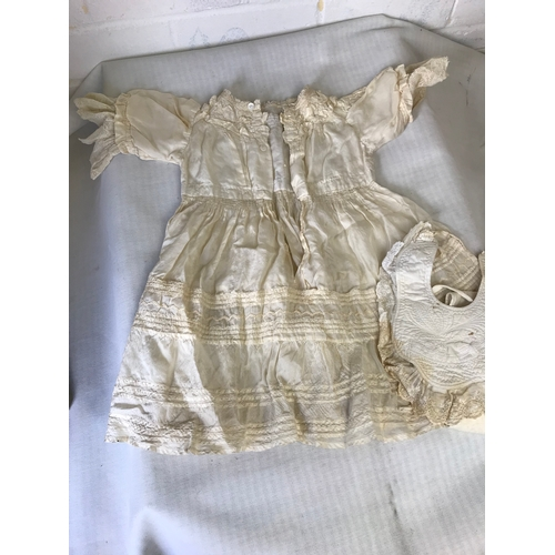 2 - Early christening gown and bib....