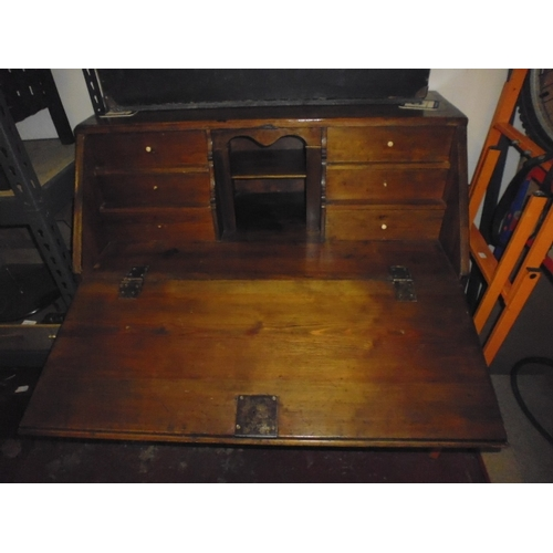20 - Pitch Pine Bureau With Fitted Interior...